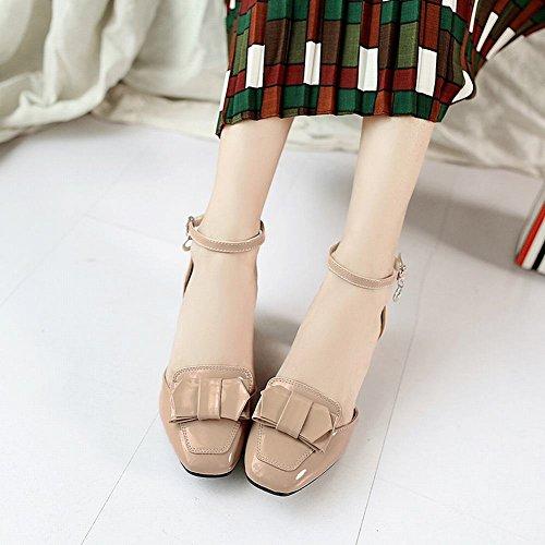 Carolbar Femmes Arcs Doux Boucle Cheville Sangle Robe De Mariée Sandales Abricot