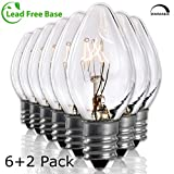 Salt Rock Lamp Bulb 6 Pack + 2 Free 15 Watt Replacement Bulbs for Himalayan Salt Lamps & Baskets,...