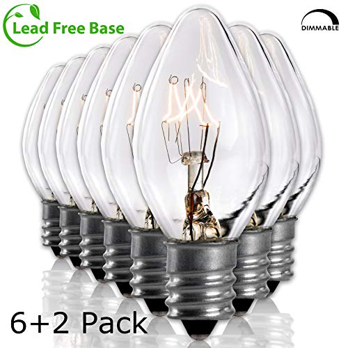 Salt Rock Lamp Bulb 6 Pack + 2 Free 15 Watt Replacement Bulbs for Himalayan Salt Lamps & Baskets, Chandeliers, Candle & Wax Warmers, Night Lights. Incandescent E12 Socket w/Candelabra Base, C7, Clear ()
