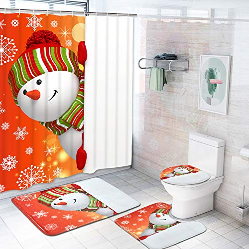 Claswcalor 4 Pcs Merry Christmas Shower Curtain Sets with Non-Slip Rugs, Toilet Lid Cover, Bath Mat and 12 Hooks Snowman Snowflake Shower Curtain for Christmas Decoration (Snowman Christmas Set)