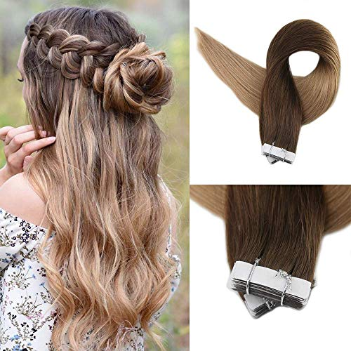 Full Shine 22 Inch Ombre Tape In Hair Extensions 20pcs 50g Color #4 Medium Brown Fading To Color #27 Honey Blonde Remy Human Hair Skin Weft Tapes