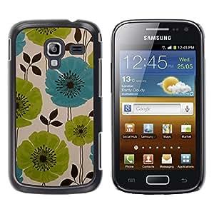 LECELL--Funda protectora / Cubierta / Piel For Samsung Galaxy Ace 2 I8160 Ace II X S7560M -- Green Poppy Teal Retro Vintage Wallpaper --