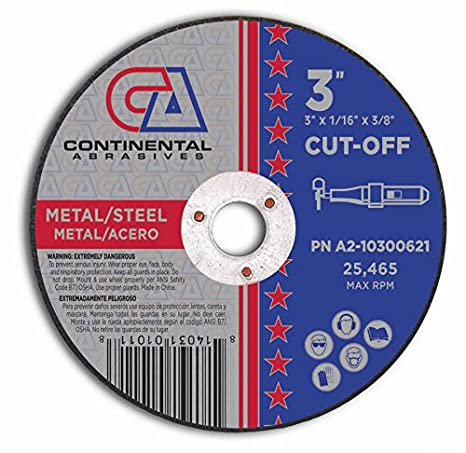 Continental Abrasives A2-10300621 Type 1 High Speed Cut-Off Wheels, 3-Inch by 1/16-Inch by 3/8-Inch - - Amazon.com