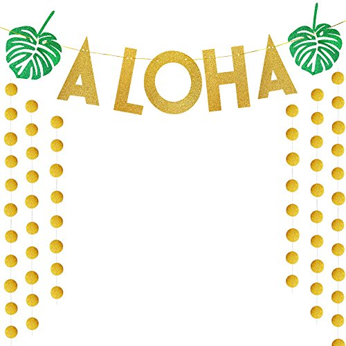 TMCCE Luau Party Supplies Gold Glittery Aloha with Circle Dots Garland for Tropical Hawaiian Beach Pool Summer Flamingo Party -