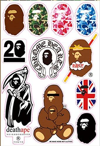 15c6944805e4 Amazon.com  Bape Logo a Bathing Ape Skateboard Vinyl Sticker Laptop Luggage  Car Bumper Decals  Home   Kitchen