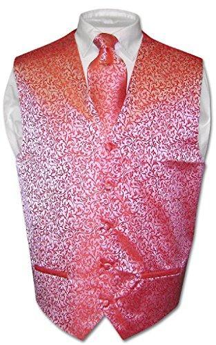 Antonio Ricci Men's Paisley Dress Vest & Necktie Red Color Neck Tie Set sz 3XL