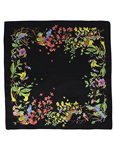 - Dahlia Women's 100% Square Silk Scarf - Birds Among Blossom Neckerchief - Black