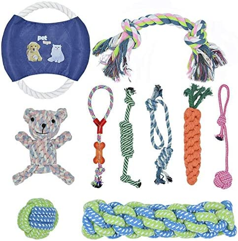 BOMPOW Dog Toys Durable Puppy Toys Avoiding Puppy Boredom Anxiety Teething Set Knots Cotton Doy Chew Toys for Puppy Small Pets, 10 Pack
