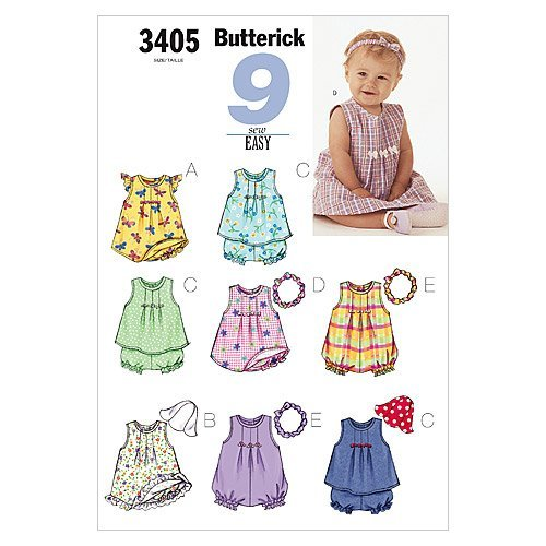 Hat Pattern Sewing Top - INFANTS DRESS, TOP, ROMPER, PANTIES, HAT & HEADBAND SIZES NB-S-M (7-21 LBS.) 9 SEW EASY BUTTERICK PATTERN 3405