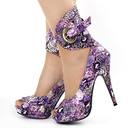 Purple LF30402 Pumps Animal Platform Story Show Snake Multicoloured Pattern Gladiator Floral fvx8Pqw