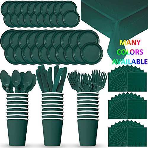 HeroFiber Disposable Paper Dinnerware for 24 - Hunter Green - 2 Size Plates, Cups, Napkins , Cutlery (Spoons, Forks, Knives), and tablecovers - Full Party Supply Pack