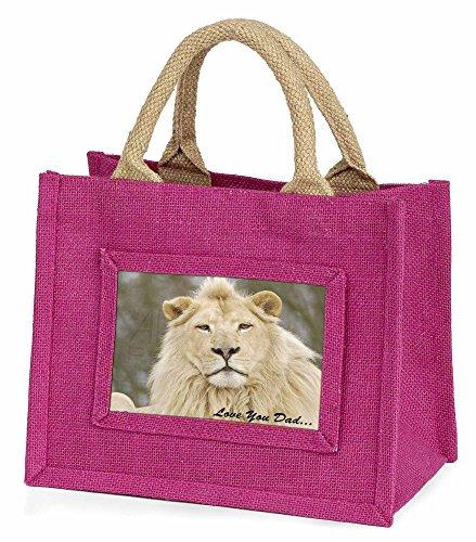 Advanta weiß Löwe Love You Dad Little Mädchen Einkaufstasche Weihnachten Geschenk, Jute, pink, 25,5x 21x 2cm