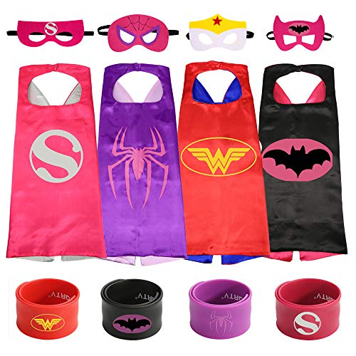 Ecparty Superheros Cape and Mask Matching Slap Bracelet Costumes Set for Kids Party Supplies (4Sets) -