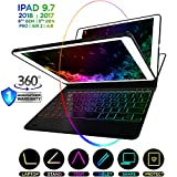 iPad Keyboard Case for iPad 2018 (6th Gen) - iPad 2017 (5th Gen) - iPad Pro 9.7 - iPad Air 2 & 1 - Thin & Light - 360 Rotatable - Wireless - Backlit 10 Color - iPad Case Keyboard (Stealth Jet Black)