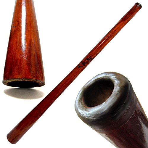 "Solid Teak Hardwood Didgeridoo - 52"" Long - Redwood Stained - Key of C-E - Free beeswax mouthpiece kit and playing instructions"