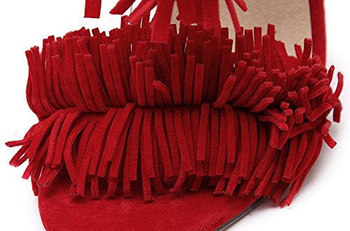 CHFSO Womens Fashion Fringed Open Toe Self Tie Dressy Stiletto High Heels Sandals Shoes With Tassels Red bXAED58i7