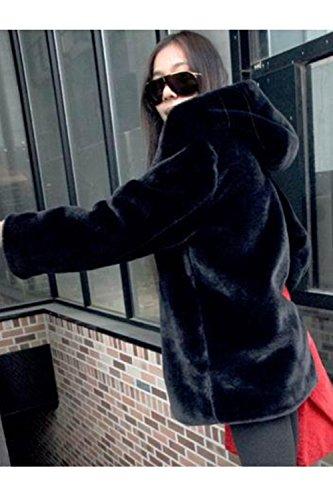 Outcoat Fur Jacket Black Mujer Zip Warm Hoodie Faux Casual Winter La Peluda q6R4Tx