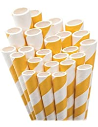 Gain Aardvark Paper Straws Unwrapped Jumbo Straw, 7.75-Inch, Bright Yellow and White Striped, 50-Pack compare