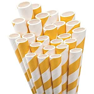 Aardvark Paper Straws Unwrapped Jumbo Straw, 7.75-Inch, Bright Yellow and White Striped, 50-Pack