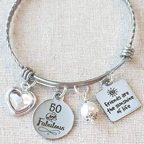 50th BIRTHDAY Friends are the Sunshine of Life Bangle, Friendship 50th Birthday Gift for Women, Milestone Birthday Gift for Her, 50 and Fabulous -