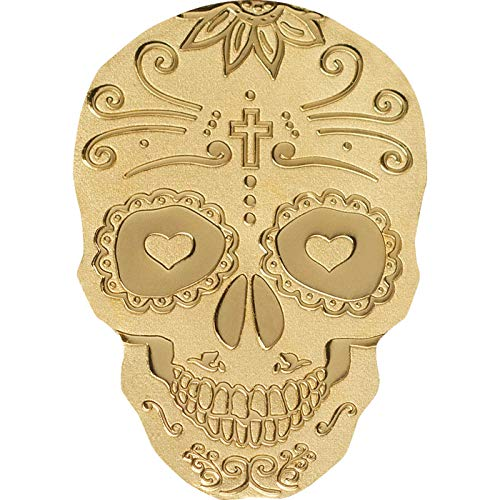 24K GOLD LA CATRINA SKULL - 1/2 Half Gram One Dollar Skull Shaped Coin in Capsule with Certificate of Authenticity PALAU $1 ()