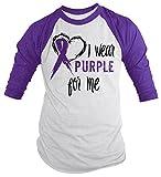 Shirts By Sarah Men's Purple Ribbon Shirt Wear For Me 3/4 Sleeve Awareness Shirt (Purple/White X-Large)