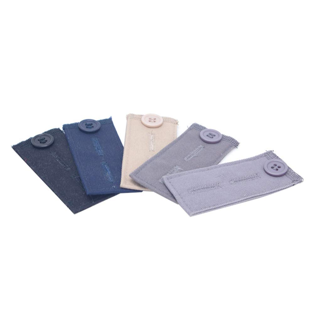 HEALLILY extensores de cintura el/ástica pantalones vaqueros duraderos extensores de botones expansores de cintura ajustables para hombres y mujeres 5 piezas