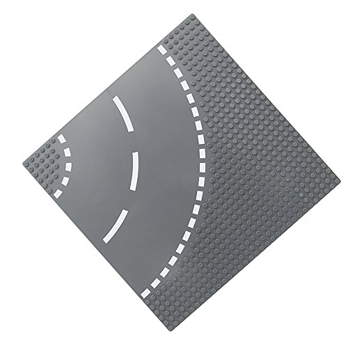 Feleph City Straight/ Curve/ T-Junction/ Crossroad Road Base Plate 8802 Building Kit 10 x 10 Baseplate for Building Bricks Compatible with All Major Brands(Grey) (Curve)
