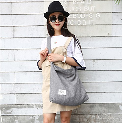 Fanspack Women's Canvas Hobo Handbags Simple Casual Top Handle Tote Bag Crossbody Shoulder Bag Shopping Work Bag by Fanspack (Image #7)