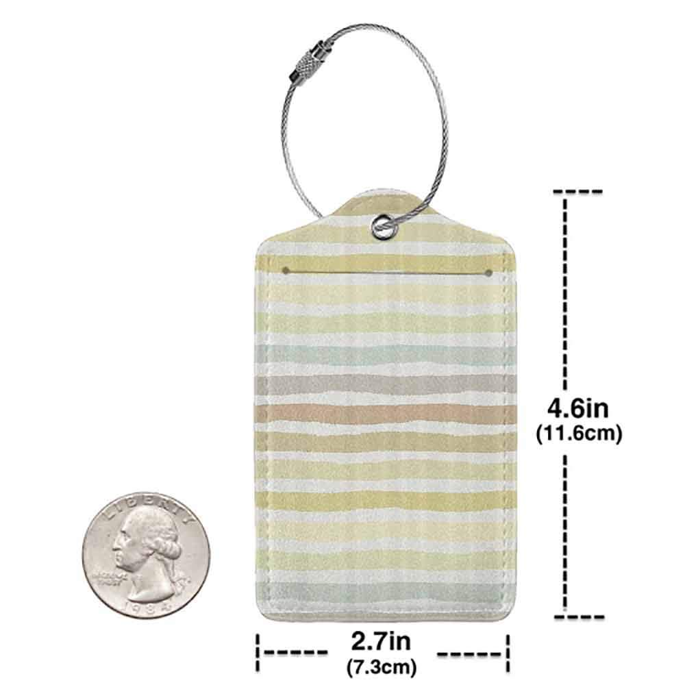 Small luggage tag Modern Abstract Horizontal Striped Paintbrush Color Bands in Soft Tones Artistic Image Quickly find the suitcase Multicolor W2.7 x L4.6