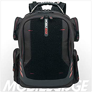 Image of Luggage Core Gaming Laptop Backpack From Mobile Edge Core Gaming, 17.3 Inch, External USB 3.0 Quick-Charge Port w/Built-in Charging Cable, Patch Panel - Black w/Red Trim - MECGBPV1