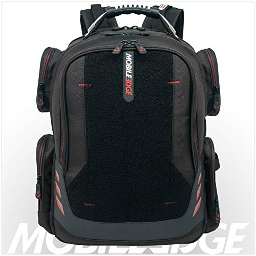 Mobile Edge Core Gaming Laptop Backpack, Velcro Front Panel 17-18 Inch, External USB 3.0 Quick-Charge Port and Built-in Charging Cable ScanFast TSA Checkpoint Friendly Black w/Red Trim MECGBPV1 ()