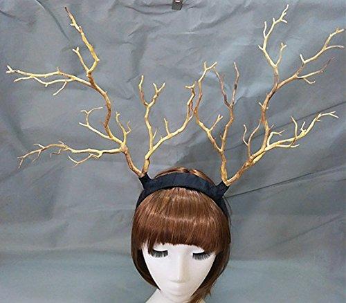 Steampunk Deadwood Horn Headband Sheep Ears Cosplay Headpieces Halloween Lolita Fancy Headdress Kangsanli (Plain Style)