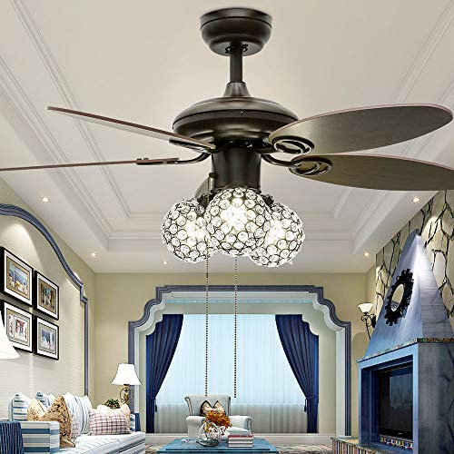 Huston Fan Modern Brown Fandelier Ceiling Fan Light with 5 Premium Reversible Wood Blade and Remote,3 Elegant Crystal Lampshade,Three Color Change Bulbs,Two Down Rod, 42'' Brushed Nickel,Not ()