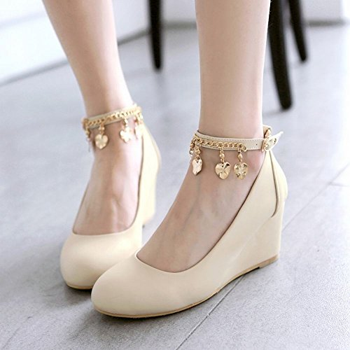 Sweet High Heel Women's Court Buckle Charm Beige Shoes Wedge Carolbar q4EIX6