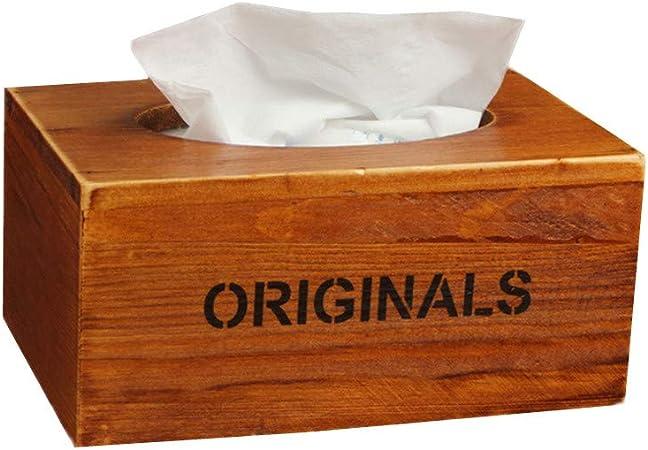 HEELPPO Caja para pañuelos de Papel Cajas para pañuelos de Papel Caja de pañuelos Cubre Cubo De Madera de la Caja del Tejido Brown