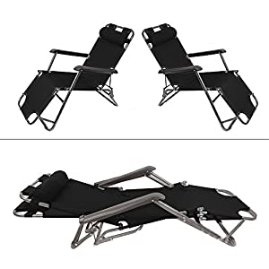 garden mile® Twin Pack Black Zero Gravity Garden Sun Lounger Sun Bed Recliner Reclining Folding Reflexology Garden…