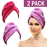 (US) Bath Blossom Microfiber Hair Towel - Fast Drying Hair Wrap Turban Cap Style ( 2 Pack ) For Women and Children
