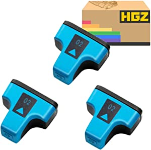 HGZ 3 Pack Color Remanufactured Ink Cartridge Replacement for HP 02 Q7964AN for HP PhotoSmart C7280 C6280 C5180 C6180 D7360 D7460 8250 C7200 Printers (3 Cyan)