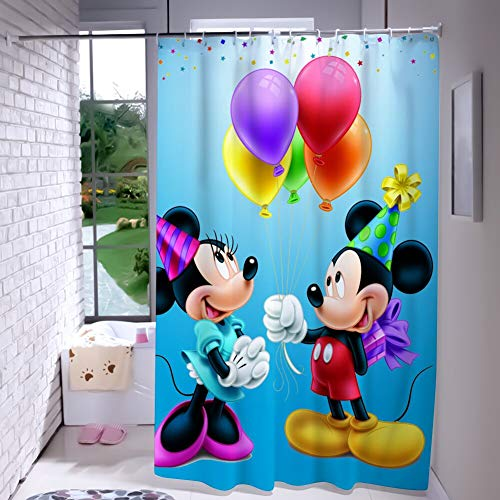 Happy Halloween Wallpaper Desktop (DISNEY COLLECTION Shower Curtain Mickey Mouse Happy Birthday Minnie Celebration Balloons Gifts for Mini Disney Picture Wallpaper for Desktop Bathroom Shower Curtains with)