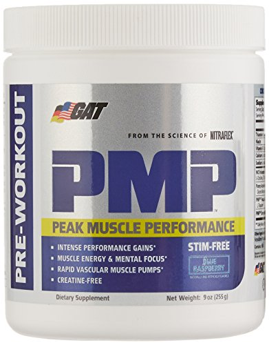 GAT PMP (Peak Muscle Performance), Next Generation Pre Workout Powder for Intense Performance Gains, Stimulant Free Blue Raspberry, 30 Servings