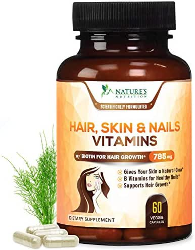 Hair Skin & Nails High Potency Biotin Vitamin Complex - Best Vegan Hair Vitamins - Made in USA - Vitamin C & E for Faster Hair Growth, Glowing Skin & Healthier Stronger Nails for Women - 60 Capsules