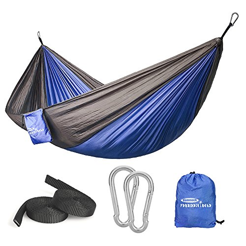 Forbidden Road Hammock Single Double Camping Portable Parachute Hammock for Outdoor Hiking Travel Backpacking - 210D Nylon Taffeta Hammock Swing - Support 400lbs - 660lbs Ropes Carabiners Included ()