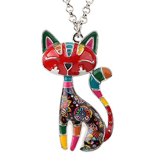 BONSNY Statement Enamel Alloy Chain Cat Necklaces Pendant Original Design for Women Girls - Jewelry Cat Charm