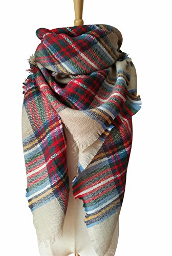 MOTINE Tartan Blanket Scarf Stylish Winter Warm Pashmina Wrap Shawl for Women (Light Khaki) Tartan Scarf