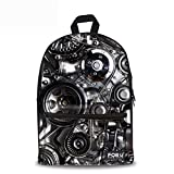 CHAQLIN Black Men Backpack Funny Gearwheel Teenager Boys Book Bags For Sale