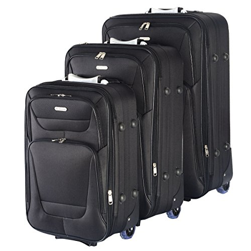 GLOBALWA 3tlg. Koffer Reisekoffer Kofferset Trolley Reisetrolley M/L/XL schwarz