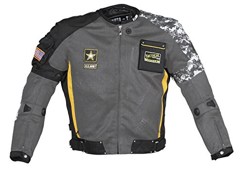 Power Trip Mens U.S. Army Delta Free Air Mesh Motorcycle Jacket Gray/Black/Yellow/Gray Camo Small S