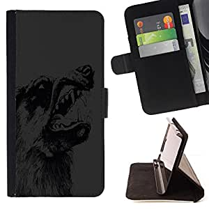 DEVIL CASE - FOR Samsung Galaxy S5 V SM-G900 - Wolf Teeth Dog Wild Animal Forest Drawing Pencil - Style PU Leather Case Wallet Flip Stand Flap Closure Cover
