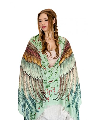 - Bird Scarf, Hand Painted and Digitally Printed Art of Wide Spread Vintage Scarf, Wrap